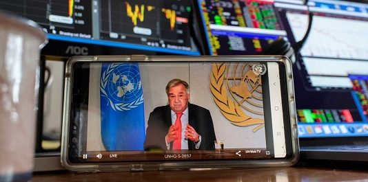 UN Secretary-General António Guterres briefs the media on the socio-economic impacts of the COVID-19 pandemic.