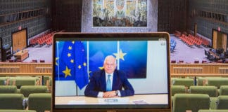 Josep Borrell, Euopean Union High Representative for Foreign Affairs and Security Policy, addresses Security Council members in connection with the Cooperation between the United Nations and regional and sub-regional organizations.