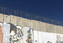 Bethlehem: part of the barrier between Israel and the West Bank.