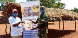 Handwashing station in Bria, CAR. Part of a CVR programme run by MINUSCA