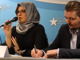 Hatice Cengiz speaking at Brussels press conference