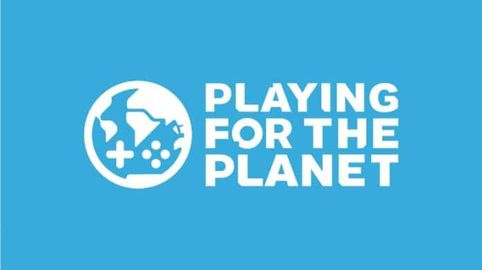 Playing for the Planet Alliance logo on blue background