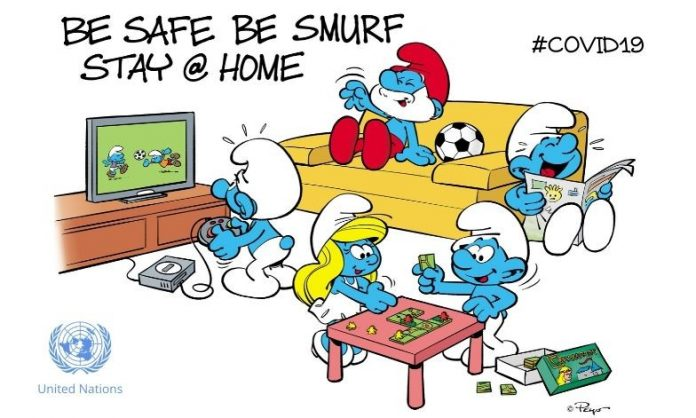 Smurfs COVID-19 message: Sta Safe, be Smurf, Stay home