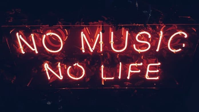 Photo of LED lights spelling out No music, no life