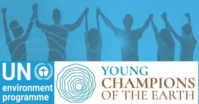banner promoting Young Champions of the Earth awards by UNEP