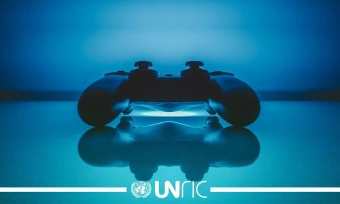 Video game controller and UNRIC logo