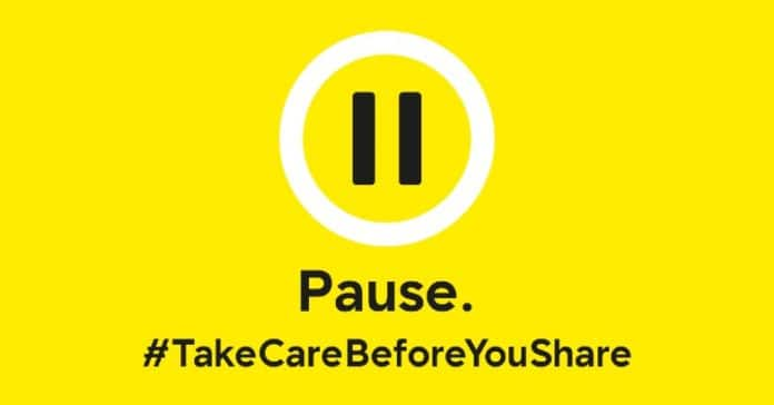 PAuse. Take care before you share. Banner