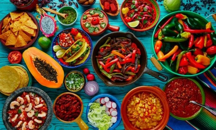 Assortment of colourful food