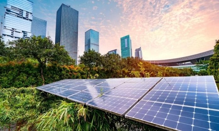 Solar panels in a city   Scroll of Honour Award