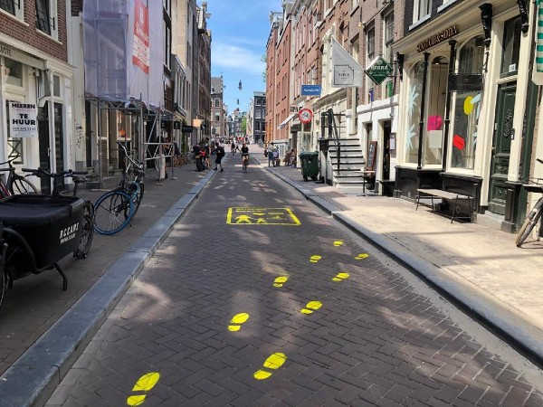 marking for social distancing in Amsterdam