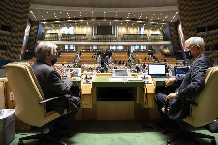 GA President and UNSG discussing at UNGA75