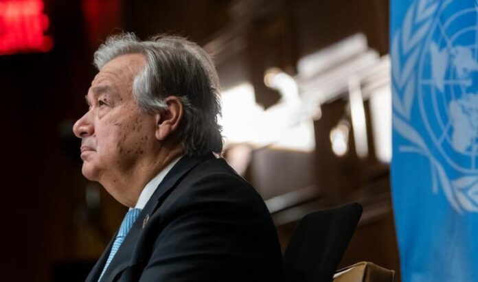 UN Photo/Mark Garten The UN Secretary-General, António Guterres, attends a virtual meeting marking the 75th anniversary of the first United Nations General Assembly