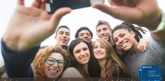 #forSafeWorship share your story banner of friend taking a group selfie