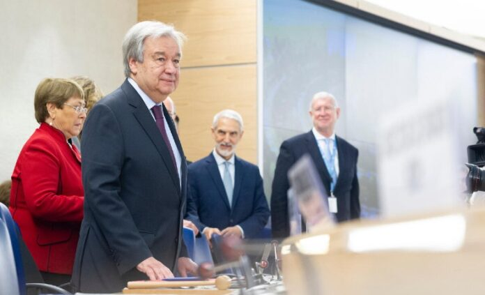 1.) The UN Secretary-General at the Human Rights Council one year ago, 24 February 2020. UN Photo/Violaine Martin