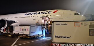 An Air France plane transporting medical supplies to Djibouti as part of UNICEF's Humanitarian Airfreight Initiative © Air France KLM Martinair Cargo