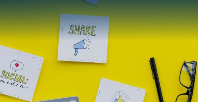 sticky notes with social media messaging on yellow wall