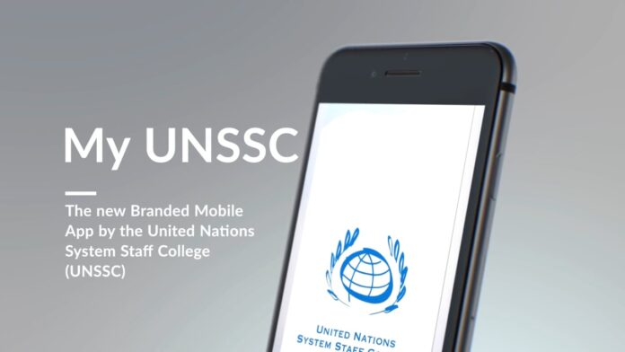 Image of mobile phone with UNSSC app running