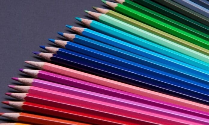 Color crayons for drawing cartoons