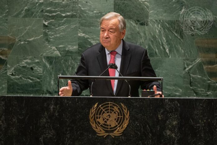 Secretary-General António Guterres addresses the opening of the general debate of the General Assembly's seventy-sixth session.