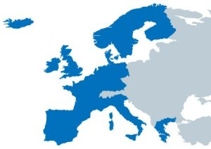 Map of countries of Europe covered by UNRIC