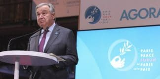 Secretary-General António Guterres delivering remarks at the Paris Peace Forum in Paris, France