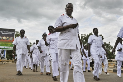 Hundreds of midwives and nurses march in Juba, Sudan to commemorate International Midwives Day (5 May) and International Nurses Day (12 May). UN Photo:Isaac Billy