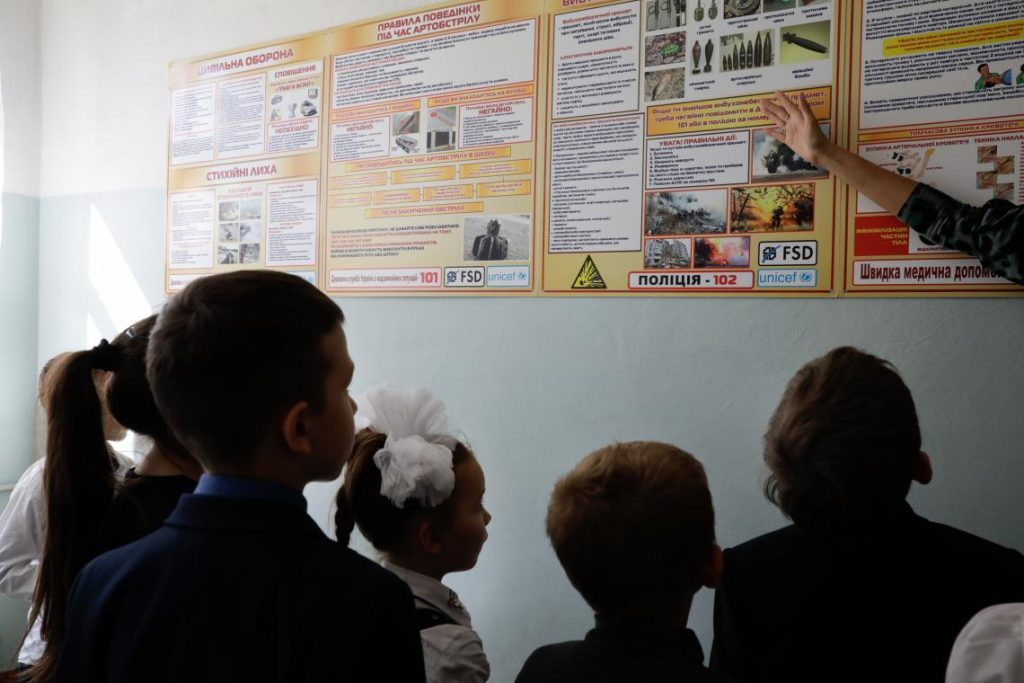UNICEF Morris VII Photo Children attend a mine risk education session at a UNICEF supported school in Opytne in the Donetsk region
