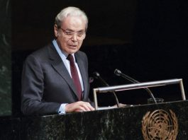 Javier Perez de Cuellar at the UN GA